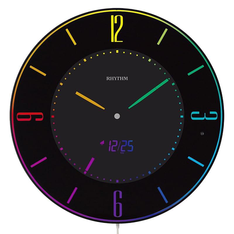 RHYTHM リズム 掛け置き兼用 カラー表示 電波デジタルクロック Iroria A(イロリア エー) 8RZ197SR02 黒