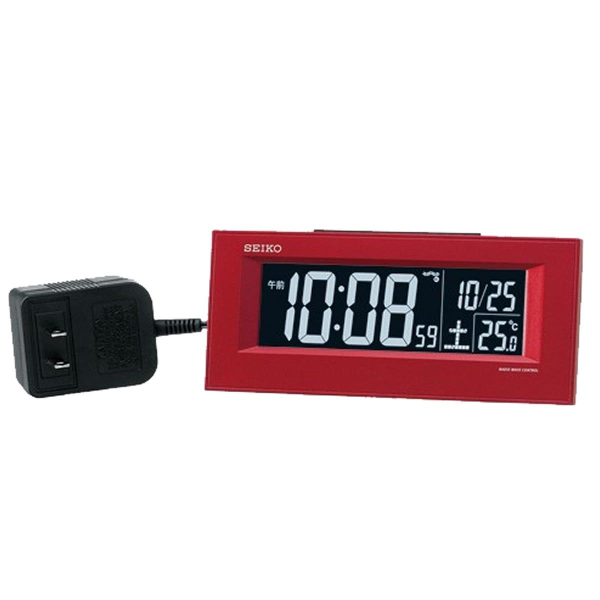SEIKO セイコー 夜でも見える アラーム付 デジタル電波置き時計 DL209R 赤