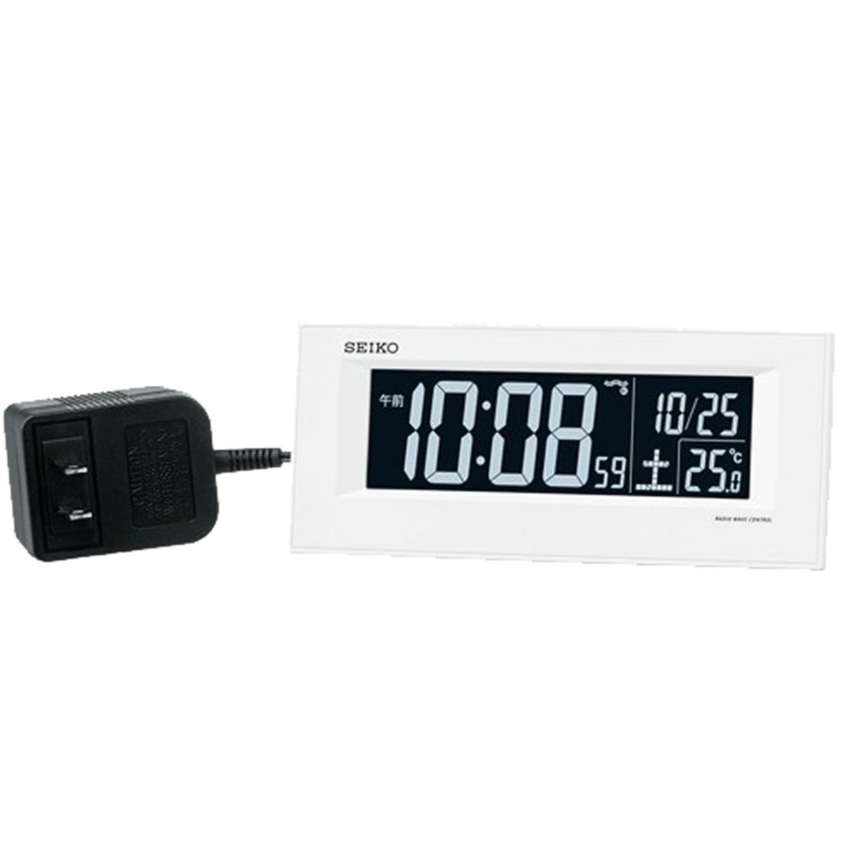 SEIKO セイコー 夜でも見える アラーム付 デジタル電波置き時計 DL209W 白
