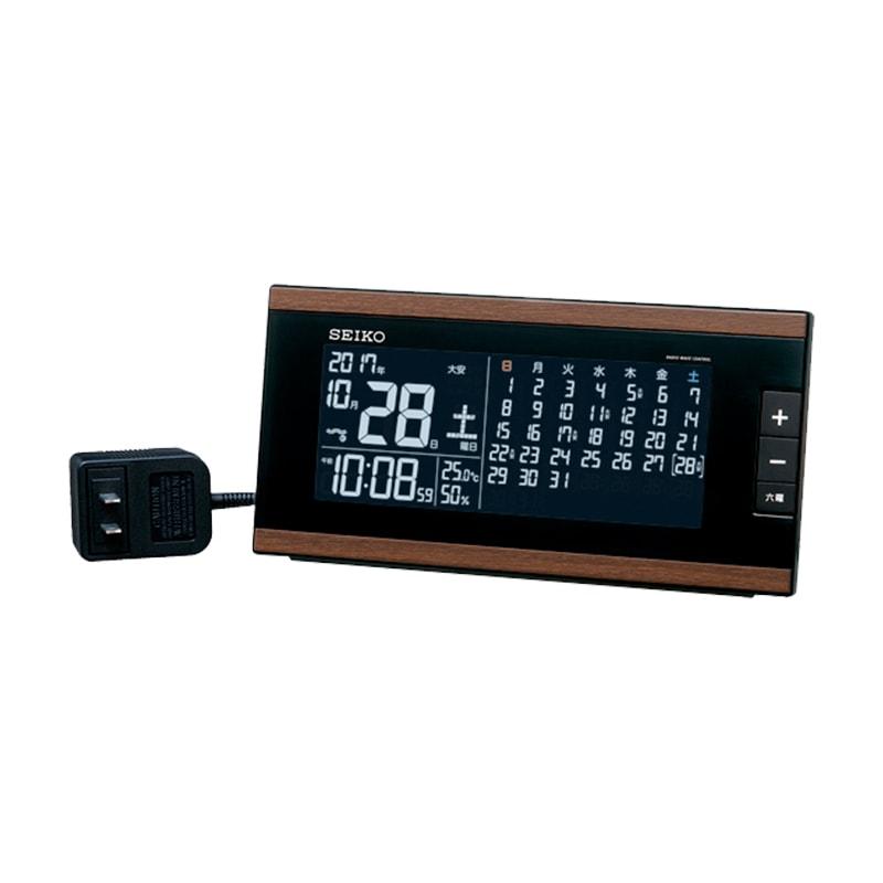 SEIKO セイコー マンスリーカレンダー表示付き 交流式 デジタル電波置き時計 DL212B 茶木目