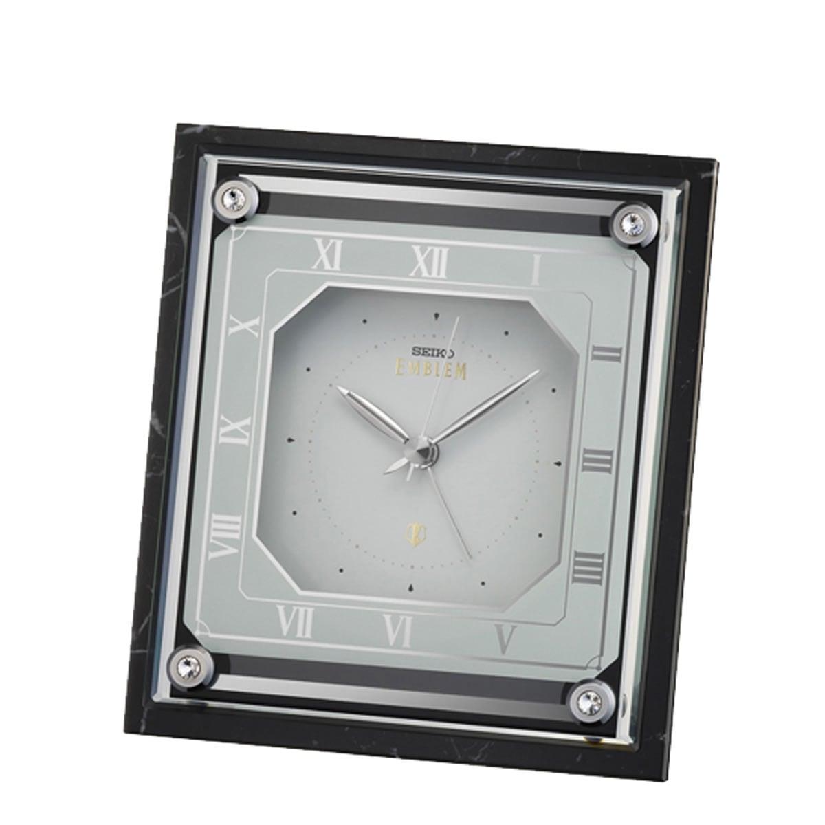SEIKO EMBLEM(セイコー エムブレム)大理石枠 アラーム付き 置き時計 HR592K 黒