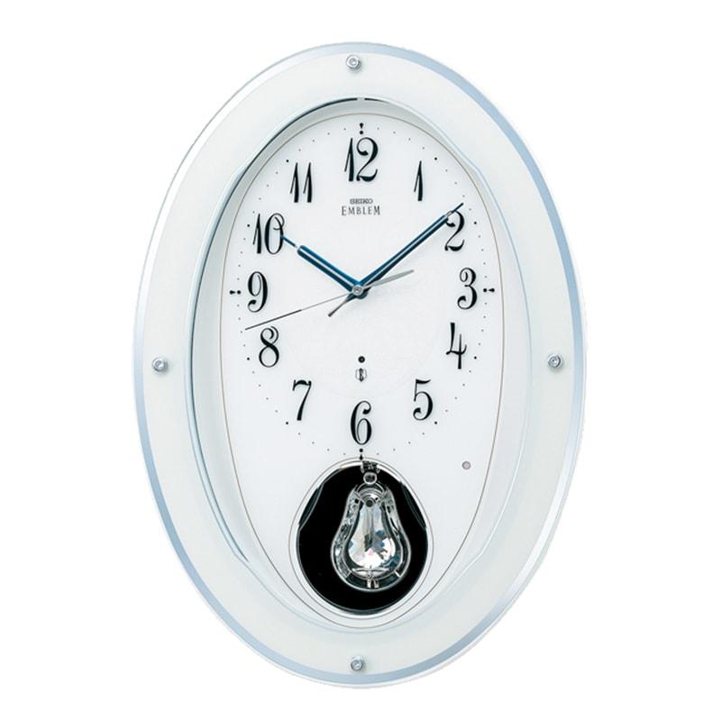 SEIKO EMBLEM(セイコー エムブレム) 木枠 電波アミューズ掛け時計 HS444W 白