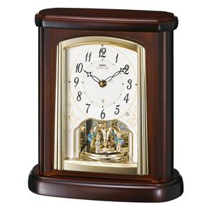 SEIKO EMBLEM セイコーエムブレム 木の風合いが魅力な回転飾り置き時計[HW582B]