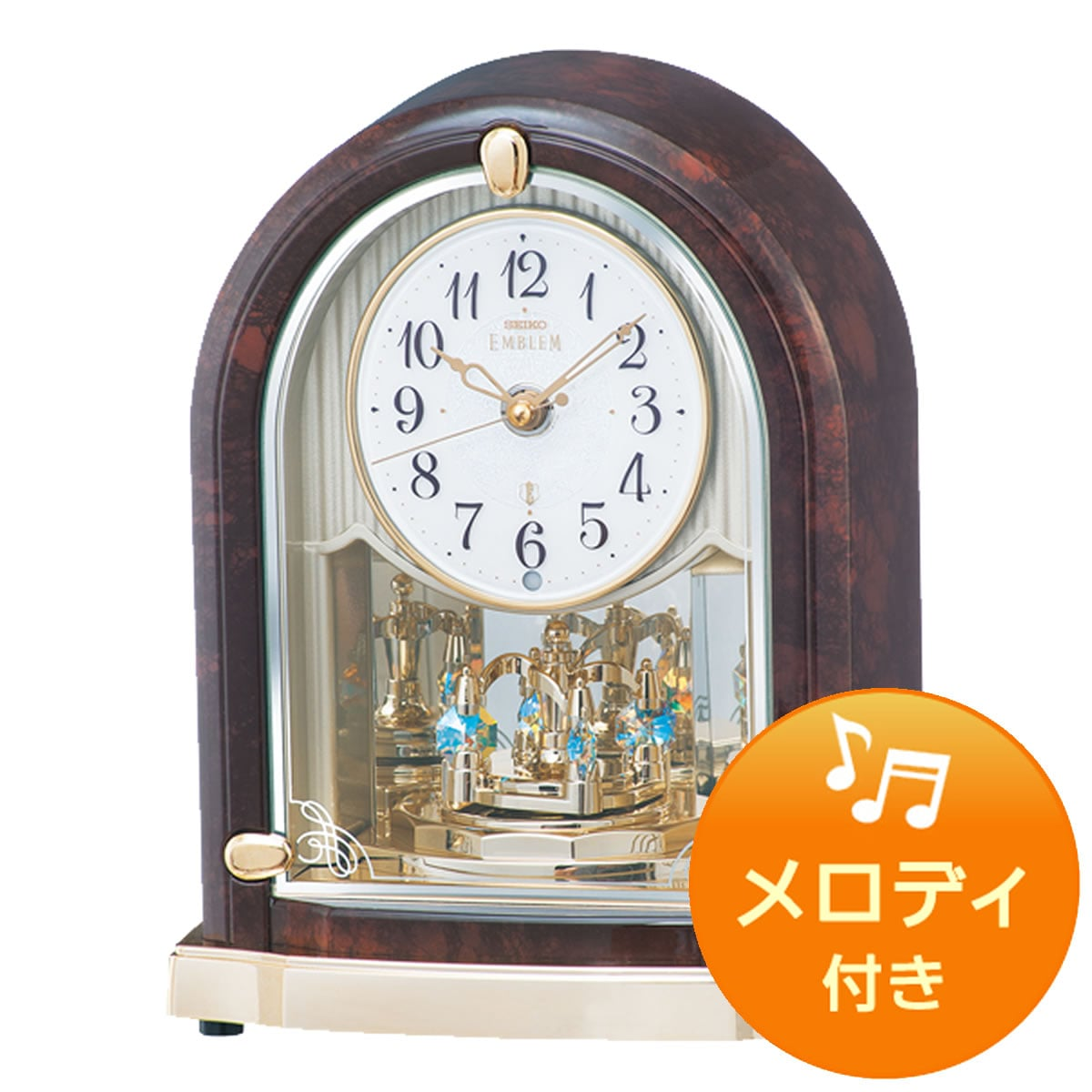 SEIKO EMBLEM(セイコー エムブレム)回転飾り付 電波アミューズ置き時計 HW590M 濃茶