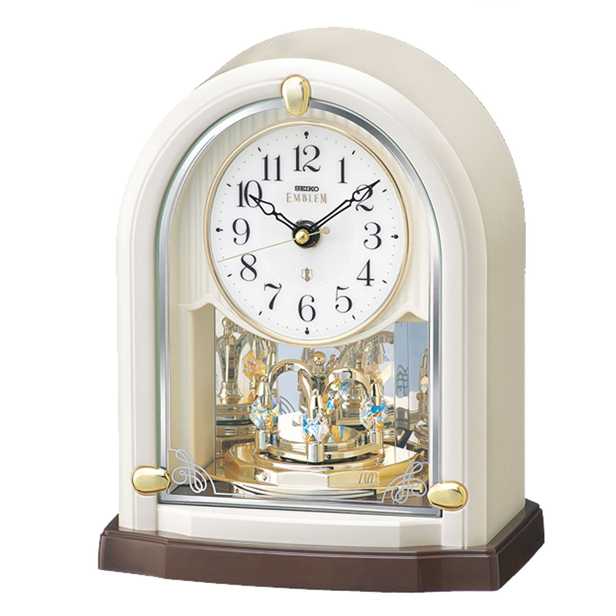 SEIKO EMBLEM(セイコー エムブレム)回転飾り付 電波置き時計 HW593W 白