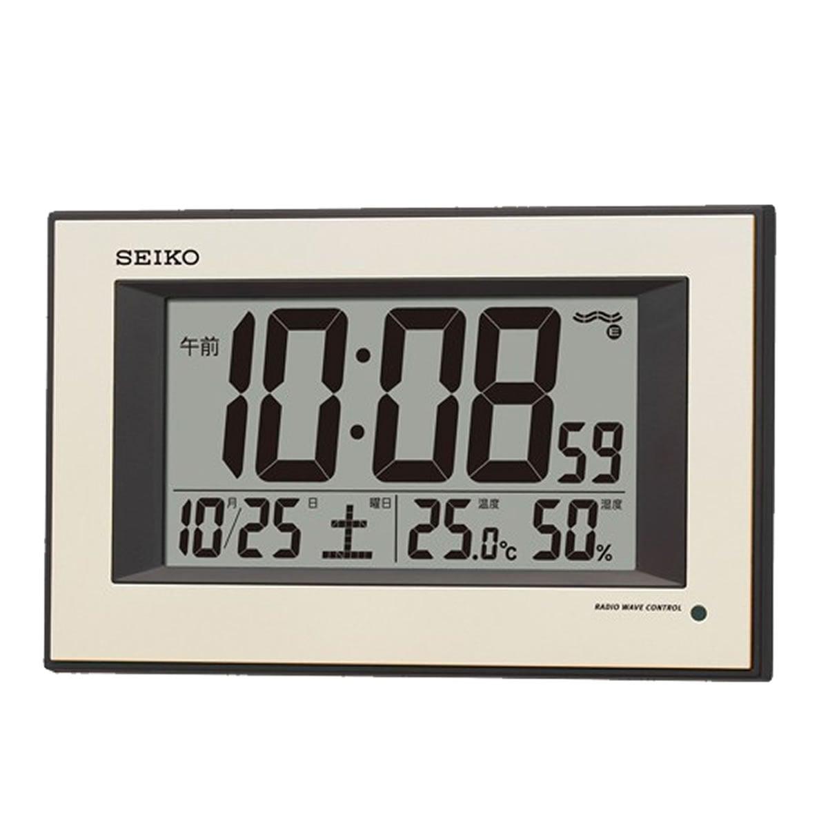 SEIKO(セイコー)温度・湿度表示付 夜光 デジタル電波掛け時計 SQ438G