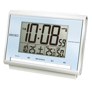セイコー(SEIKO)温湿度表示デジタル電波クロック目覚まし時計/SQ698L/薄青パール