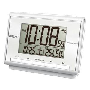 セイコー(SEIKO)温湿度表示デジタル電波クロック目覚まし時計/SQ698S/白パール