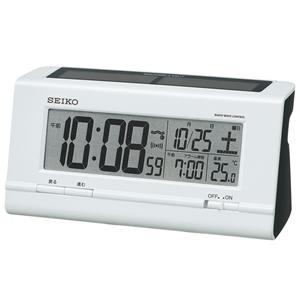 セイコー(SEIKO)ハイブリッドソーラーデジタル電波クロック目覚まし時計/SQ766W/白パール