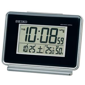 セイコー(SEIKO)温湿度表示デジタル電波クロック目覚まし時計/SQ767K/黒