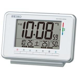 SEIKO セイコー ウィークリーアラーム デジタル 電波 目覚まし時計 SQ775W 白