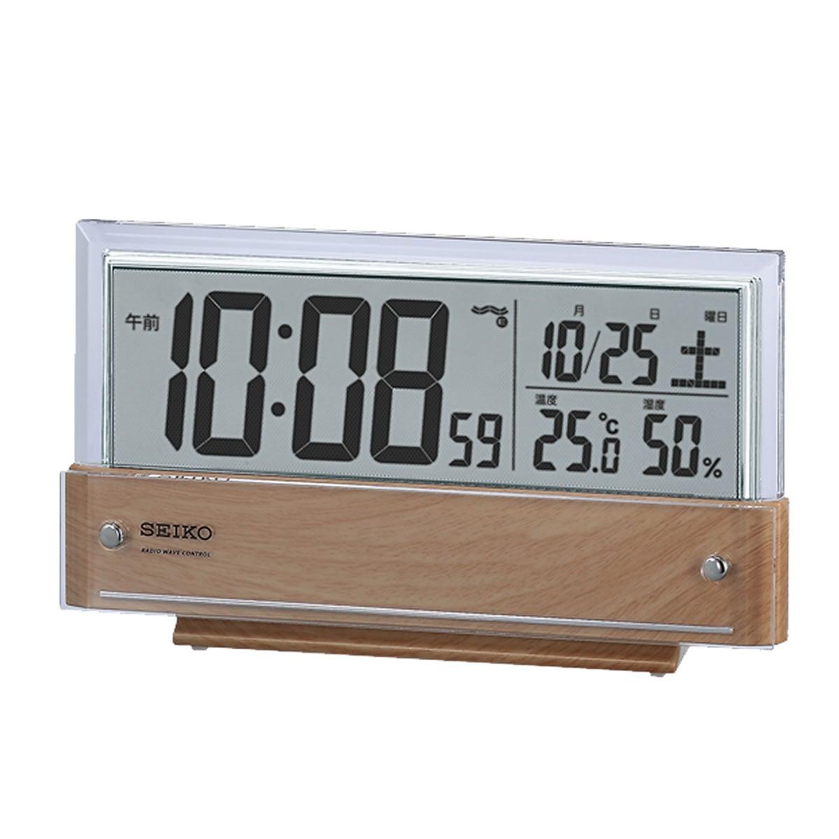 SEIKO(セイコー)温度・湿度表示付 デジタル 電波目覚まし時計 SQ782B