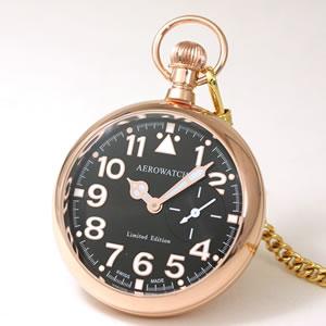 アエロ(AERO)/100周年記念モデル/オープンフェイス/手巻き式/ゴールド/55812R502/懐中時計