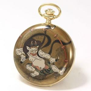アエロ(AERO)/100周年記念蒔絵時計/松木大輔/雷神(宗達)/懐中時計