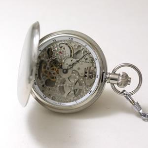CATOREX(カトレックス)/懐中時計/手巻き式/両開きスケルトン/シルバーカラー/1639.2