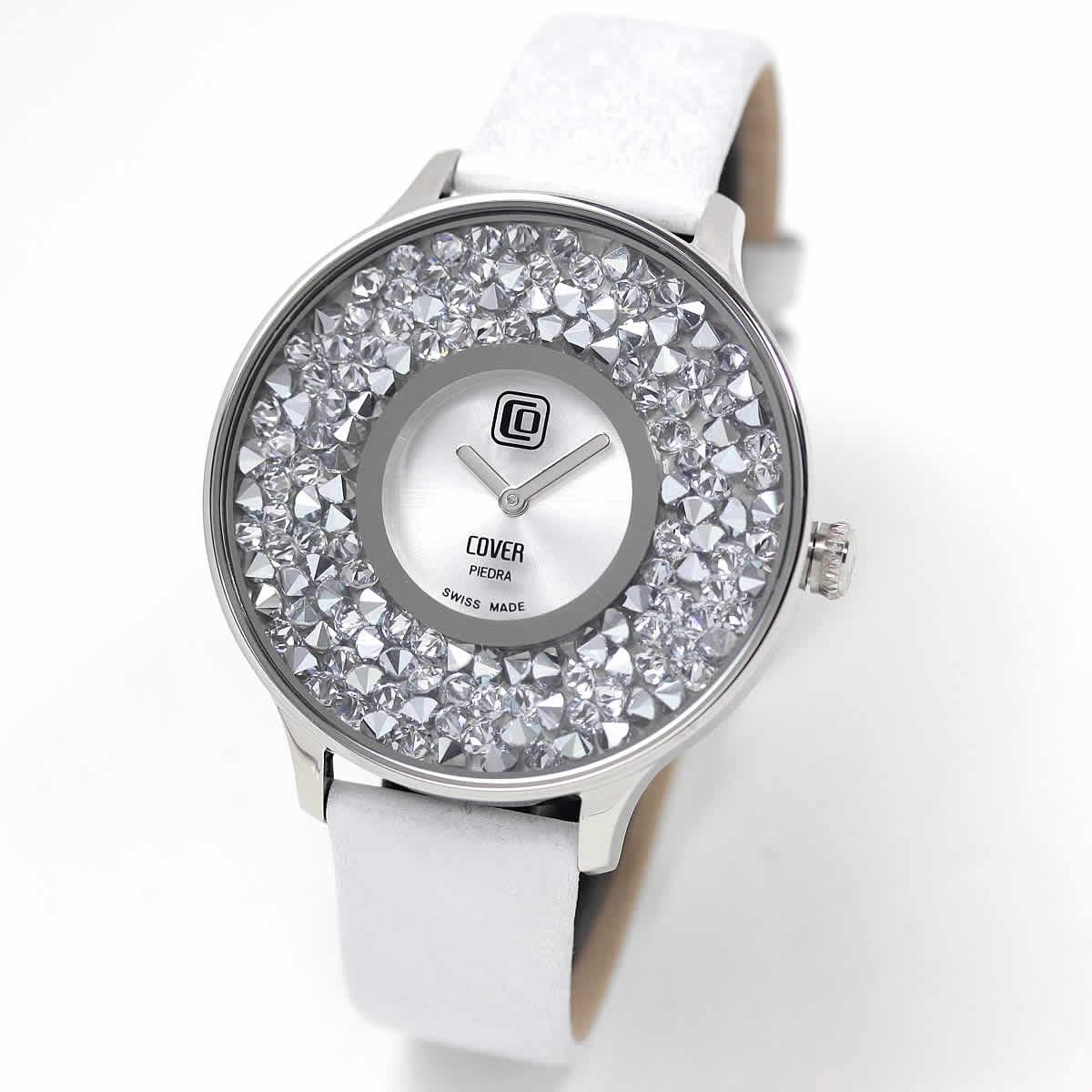 COVER(コヴァー) TREND PIEDRA Co158.01 ホワイト 女性用腕時計