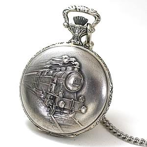 アエロ(AERO)/懐中時計/ハンターケース/手巻き式/銀仕上げ 蒸気機関車/55668AG01