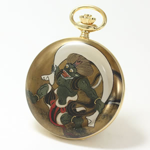 アエロ(AERO)/100周年記念蒔絵時計/松木大輔/風神(宗達)/懐中時計