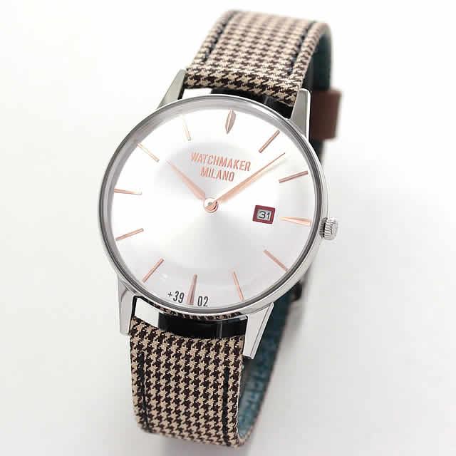 取扱中止、最後の1本のため割引価格  WATCHMAKER MILANO(ウォッチメーカー ミラノ)Ambrogio アンブロジオWM.00A.09ホワイトシルバー/腕時計