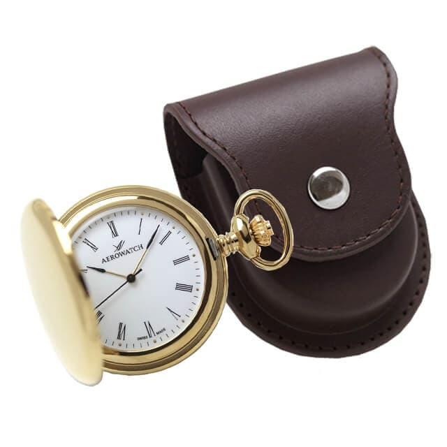 アエロ(AERO)クォーツ式懐中時計と正美堂オリジナル革ケース(ブラウン) セット 04821JA01-SP408F