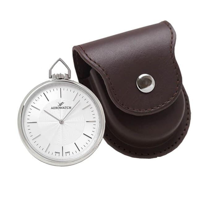 アエロ(AERO)クォーツ式懐中時計と正美堂オリジナル革ケース(ブラウン) セット 05822AA02-SP408F