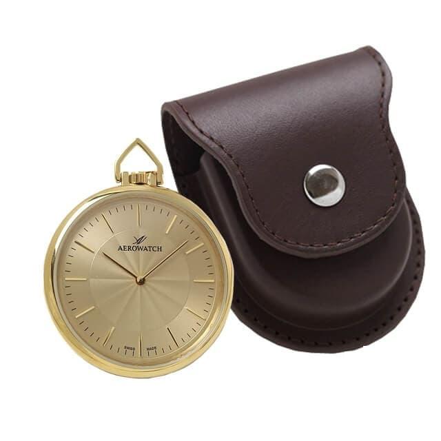 アエロ(AERO)クォーツ式懐中時計と正美堂オリジナル革ケース(ブラウン) セット 05822JA01-SP408F