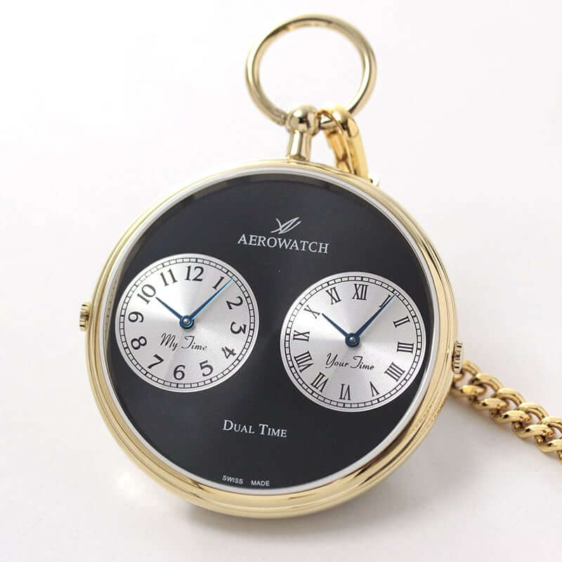 AERO(アエロ)  クォーツ式 デュアルタイム 05826 JA03 懐中時計