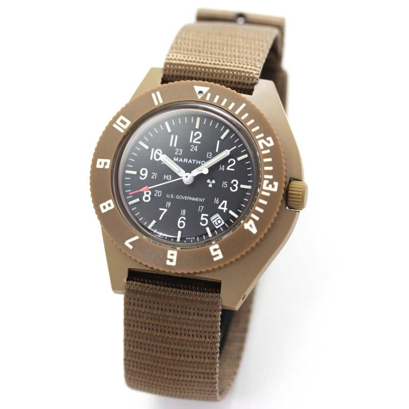 取扱中止、最後の1本のため割引価格MARATHON(マラソン) ナビゲーター デイト パイロット クォーツ デザートタン 1024-0000701-D 腕時計