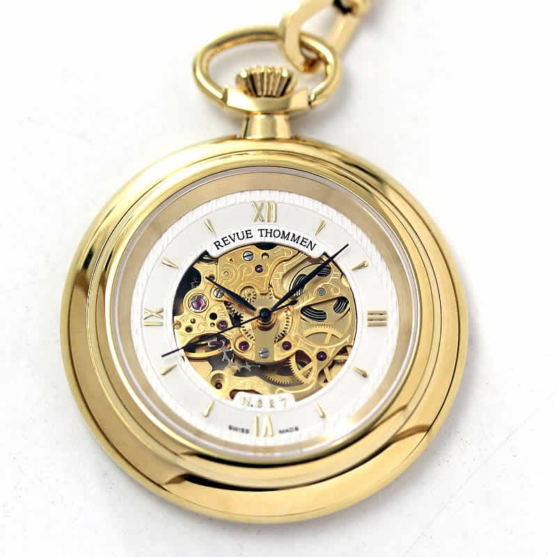 レビュートーメン(REVUE THOMMEN)/スケルトン/手巻式/ゴールドカラー/120023112/懐中時計