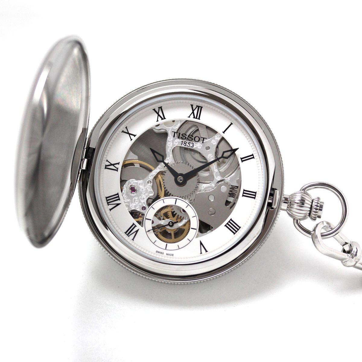 Tissot(ティソ) ポケット ブリッジポート メカニカル スケルトン 手巻き T859.405.19.273.00 懐中時計