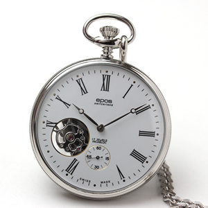 エポス(EPOS)/懐中時計 手巻き式 ホワイト オープンハート