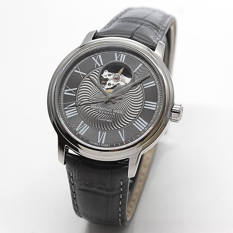 レイモンドウェイル マエストロ(MAESTRO)オープンハート  2227-STC-00609 グレー レザー 腕時計