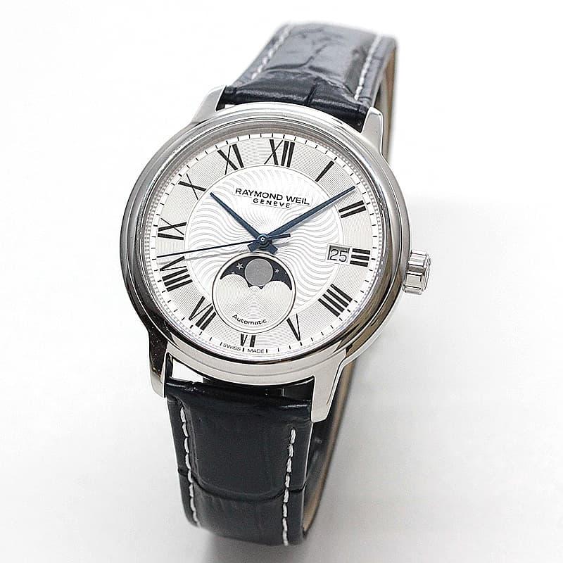 レイモンドウェイル マエストロ(MAESTRO)ムーンフェイズ 2239-STC-00659 ホワイト レザー 腕時計
