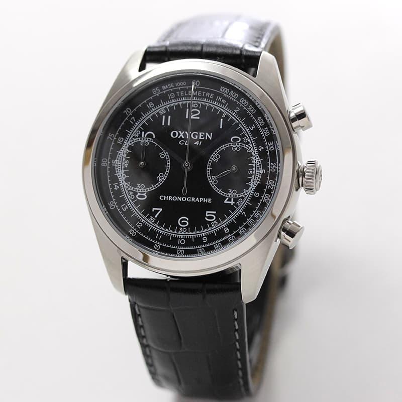 オキシゲン(OXYGEN)クロノ レジェンド 41 L-CH-AYR-41 メンズ クォーツ ブラック 腕時計