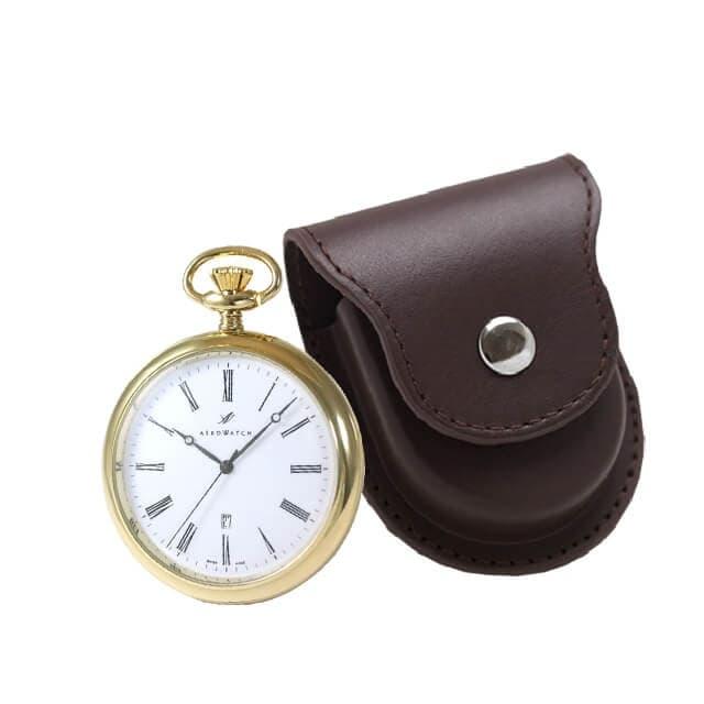 アエロ(AERO)クォーツ式懐中時計と正美堂オリジナル革ケース(ブラウン) セット 25795J501-SP408F