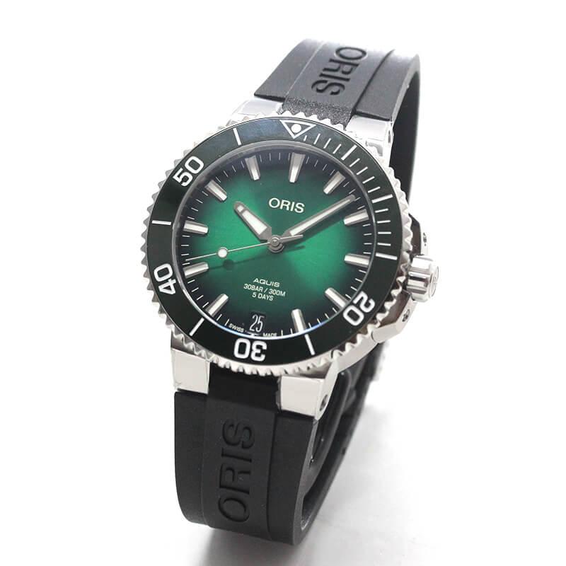 オリス/Oris/ダイビング/AQUIS(アクイス)/キャリバー400/ダイバーズウォッチ 400 7769 4157-07 4 22 74FC 41.5mm径 グリーン ラバーベルト 腕時計