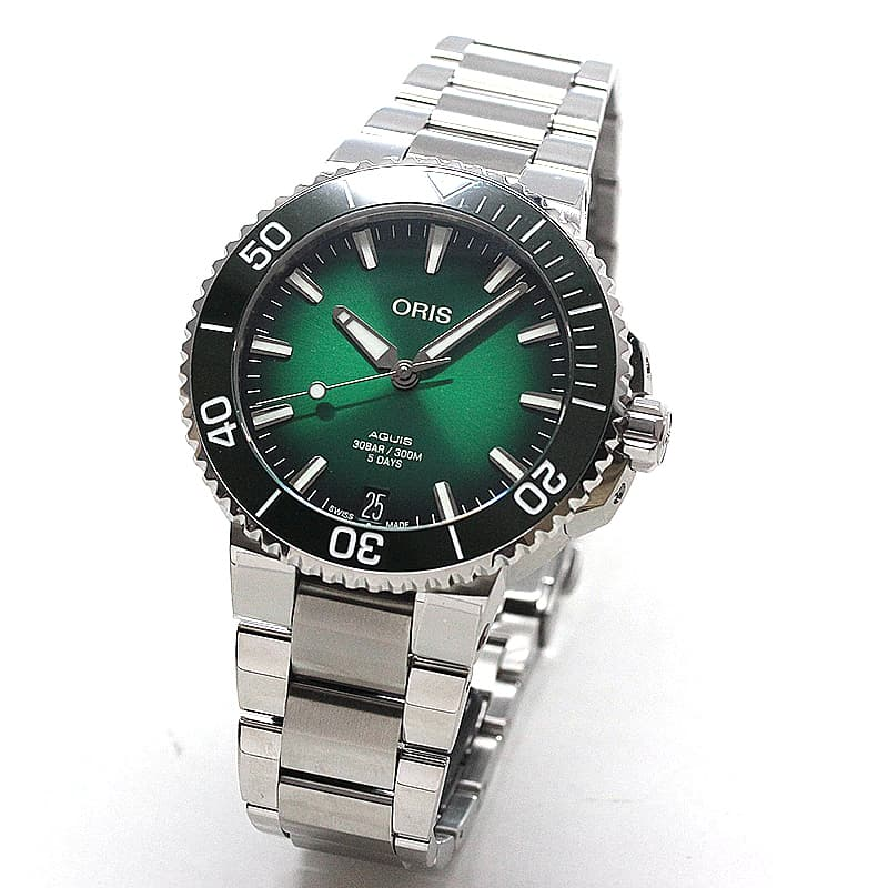 オリス/Oris/ダイビング/AQUIS(アクイス)/キャリバー400/ダイバーズウォッチ 400 7769 4157-0782209PEB 41.5mm径 グリーン 腕時計