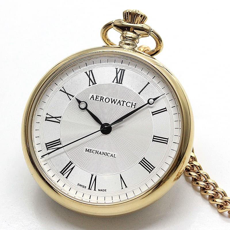 アエロ(AERO) オープンフェイス 手巻き式 40828JA02 懐中時計 ゴールドカラー