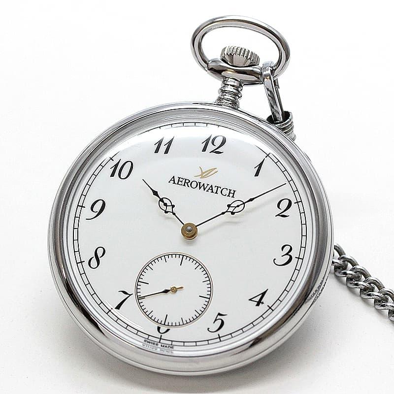 アエロ(AERO) オープンフェイス 手巻き式 50827PD04 懐中時計 シルバーカラー