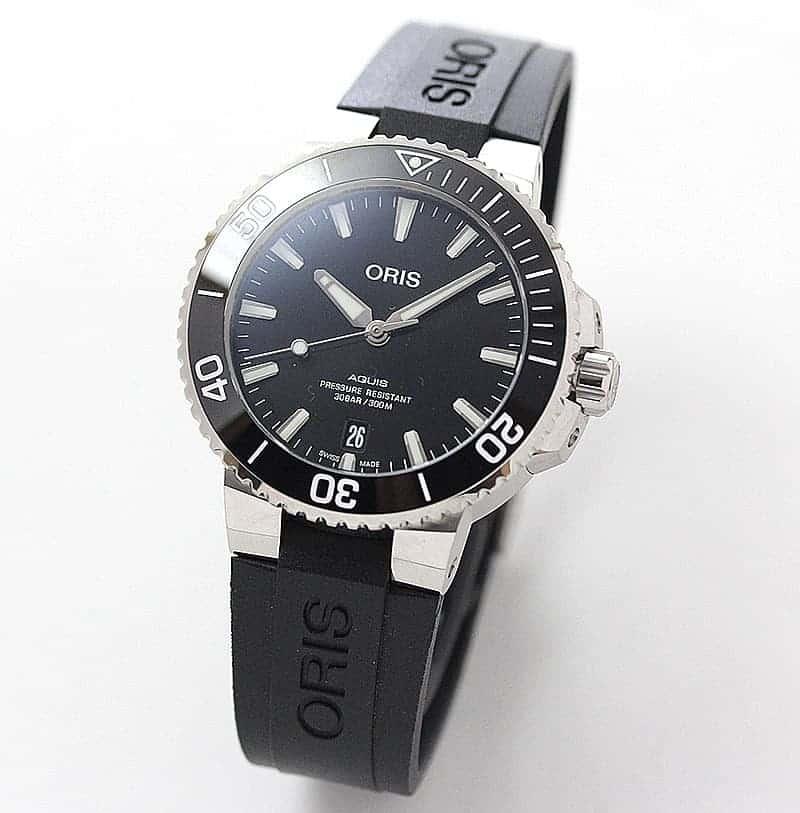 オリス/Oris/ダイビング/AQUIS(アクイス) デイト/ブラック ポリッシュダイアル /ラバーベルト/733 7732 4134 39.5mm 腕時計