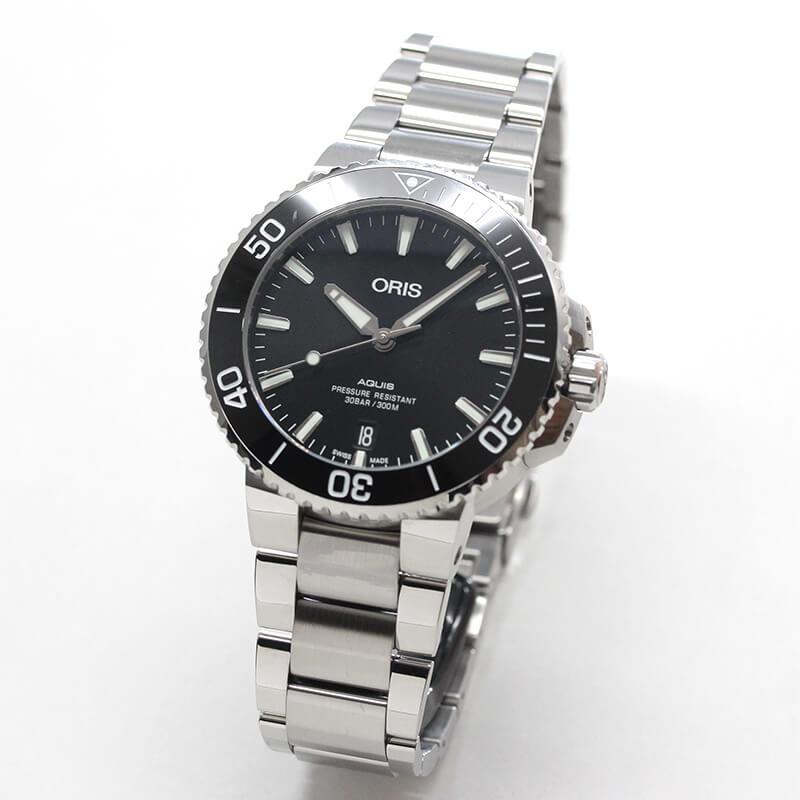 オリス/Oris/ダイビング/AQUIS(アクイス) デイト/ブラック ポリッシュダイアル/メタルベルト/733 7732 4134-07 8 21 05PEB 39.5mm 腕時計