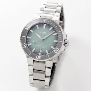 オリス/Oris/ダイビング/AQUIS(アクイス) デイト/グリーン/メタルベルト/733 7732 4137-07 8 21 05PEB 39.5mm 腕時計