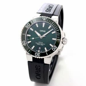 オリス/Oris/ダイビング/AQUIS(アクイス) デイト/グリーン/ラバーベルト/733 7732 4157-07 4 21 64FC 39.5mm 腕時計