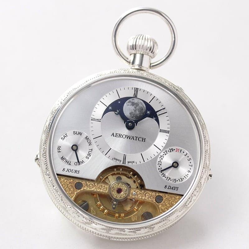 AERO(アエロ) 銀無垢 手巻き式 88798A901 レピン ゴールド-シルバー 懐中時計