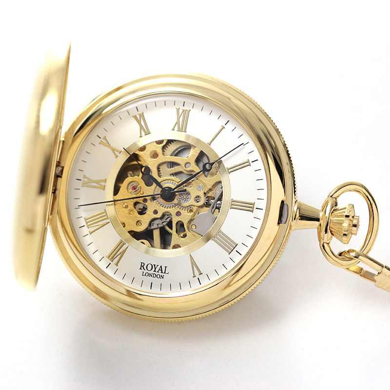 ROYAL LONDON(ロイヤルロンドン) 両蓋開き スケルトン懐中時計 手巻き 90029-02