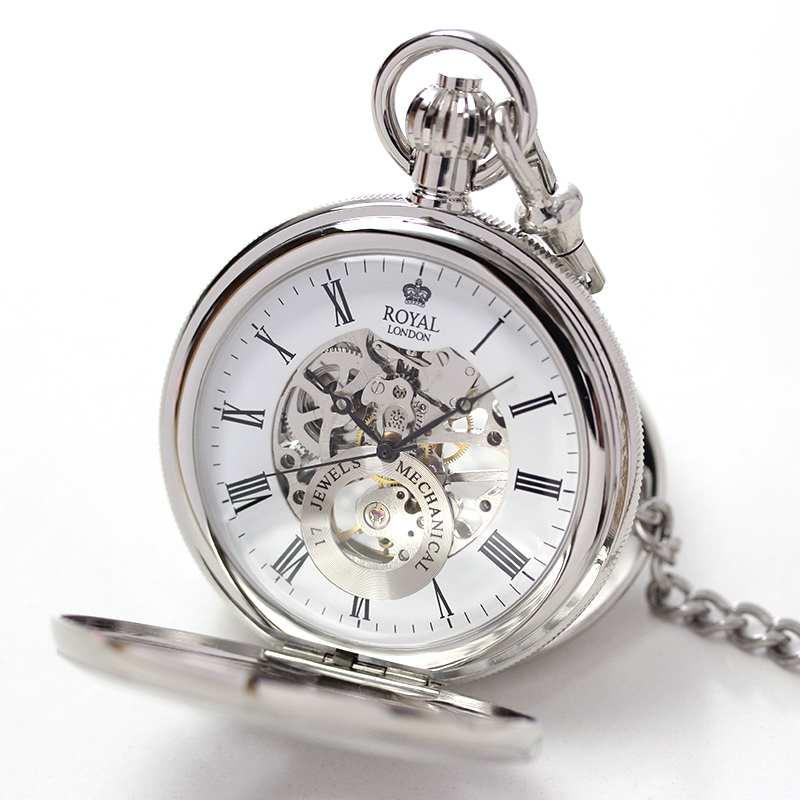 ROYAL LONDON(ロイヤルロンドン) 両蓋開き スケルトン懐中時計 手巻き 90048-01