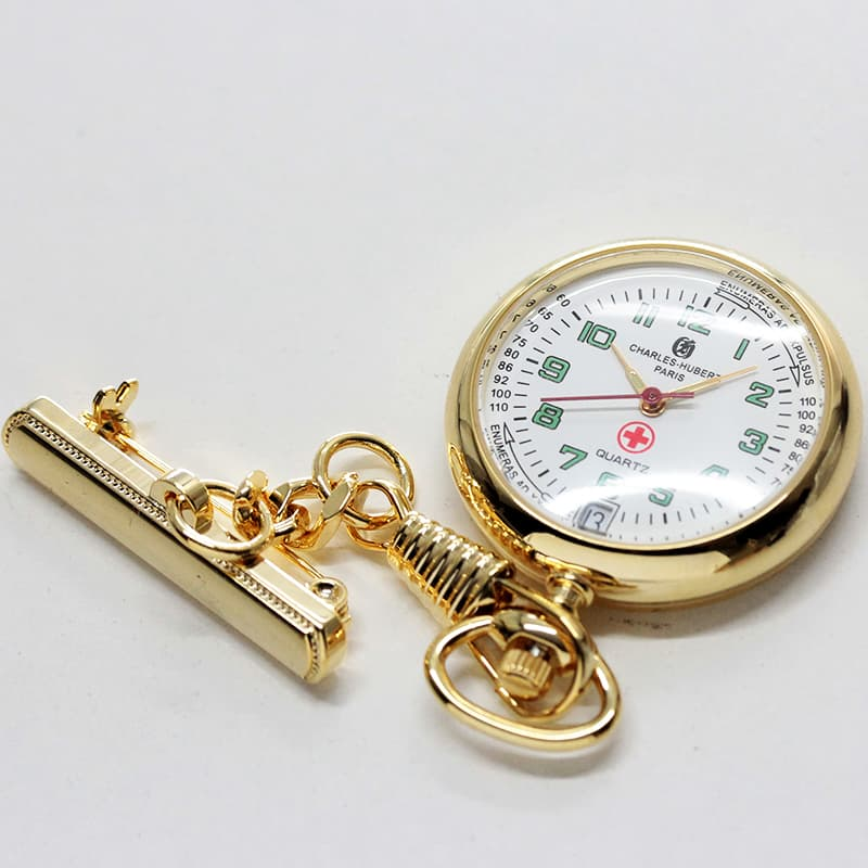 チャールズヒューバート(Charles-Hubert) 懐中時計 ナースウォッチ ゴールドカラー 6901-G