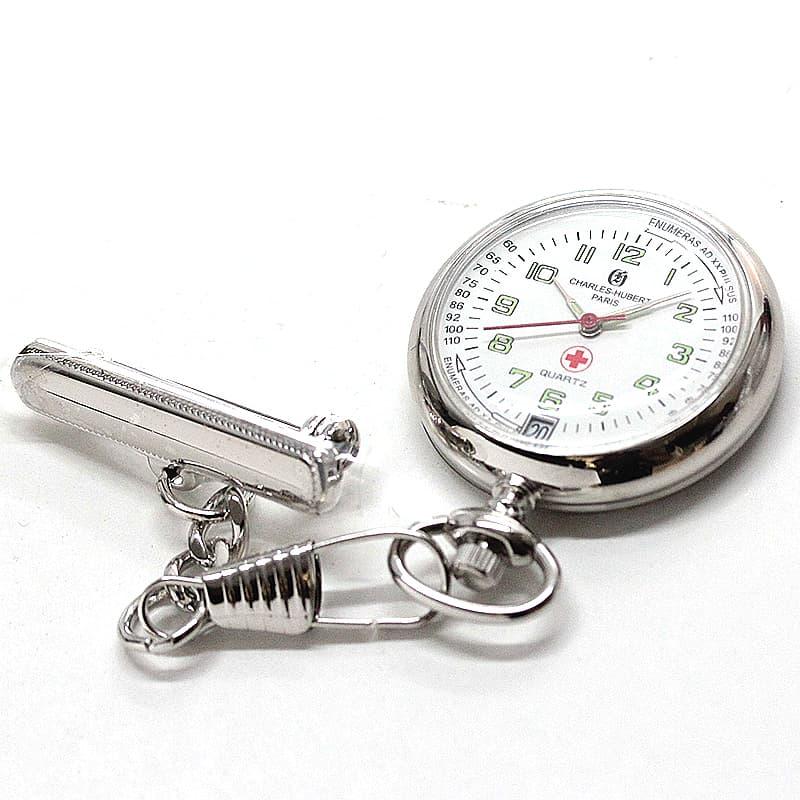 チャールズヒューバート(Charles-Hubert) 懐中時計 ナースウォッチ 6901-W シルバーカラー