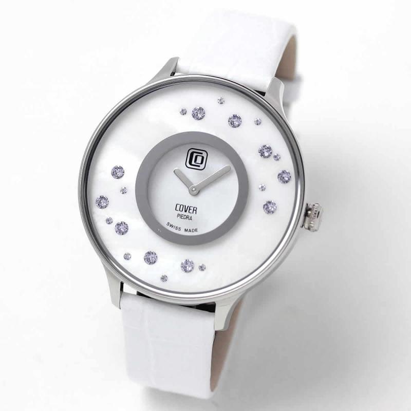 COVER(コヴァー) TREND PIEDRA STARS Co158.08 ホワイト 女性用腕時計