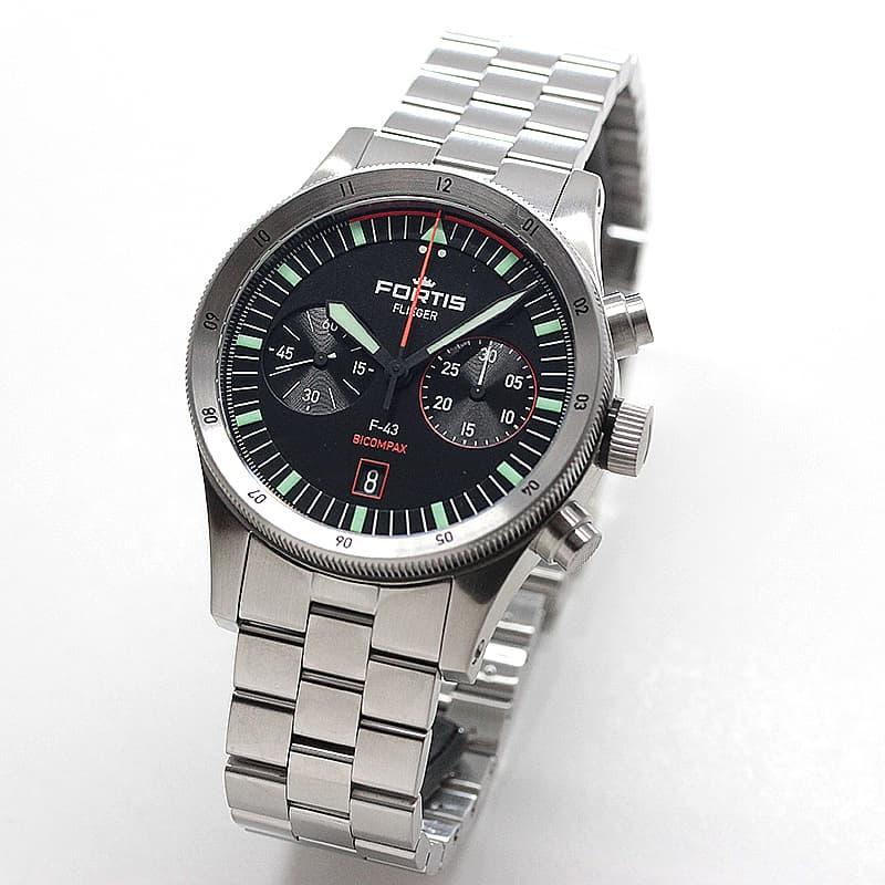 フォルティス(FORTIS)フリーガー F-43 Bicompax(バイコンパックス) F.424.0004 クロノグラフ 腕時計